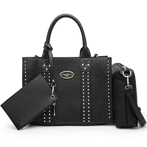 Women Vegan Leather Handbags Fashion Satchel Bags Shoulder Purses Top Handle Work Bags 3pcs Set Black