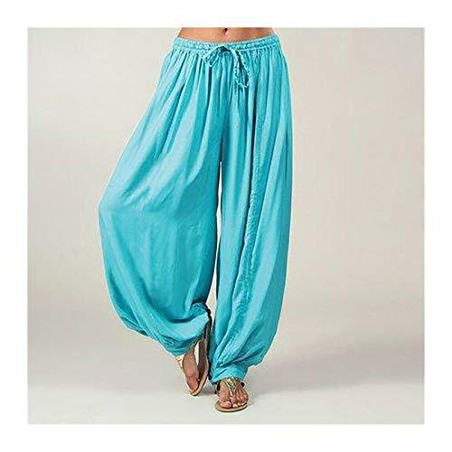 Casuales Mujeres Harem Pantalones Deportes Hippie Hippie Entrenamiento Pantalón Suelto Pantalones Sweatpants Solid Sports Pantalones Sueltos Danza Suave (Color : Blue, Size : M.)