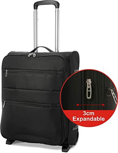 Eono EONO Essentials 55x40x20 Ryanair 2 Rollen 42L erweiterbar zu Einem 55x40x23 Handgepäck Trolley für Lufthansa & Eurowings, Schwarz