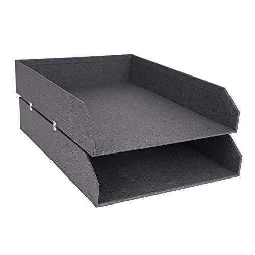 BIGSO BOX OF SWEDEN 2er-Set Briefablage für den Schreibtisch – stapelbare Ablagefächer für Briefe, Dokumente usw, – Ordnungssystem aus Faserplatte mit Papier-dunkelgrau