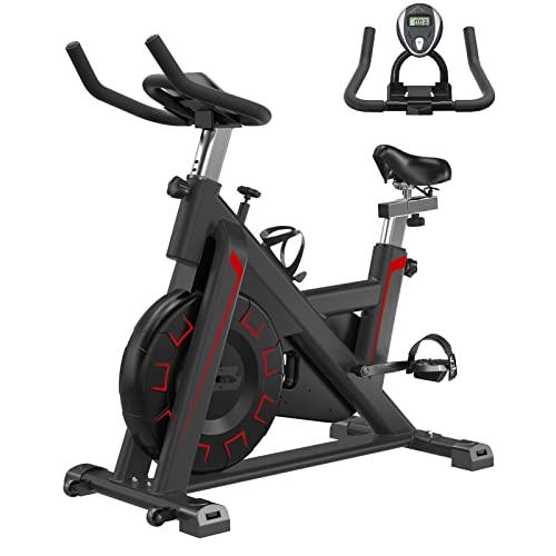 Bicicleta de ejercicio, bicicleta de entrenamiento silenciosa ajustable con pantalla LCD, soporte para tableta, monitor de frecuencia cardíaca..