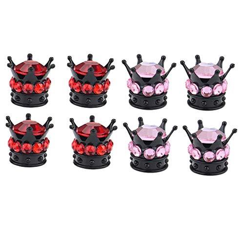 MagiDeal 8x Tapones de Vástago de Válvula Tapones de Válvula de Neumático de Coche Universales con Forma de Corona, Rojo Y Rosa