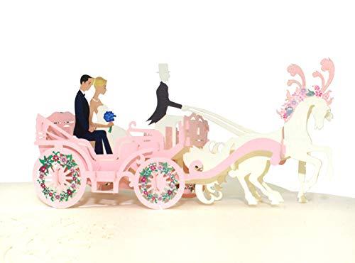 3D Hochzeitskarte – Kutsche mit Brautpaar – hochwertige XXL Pop-up Glückwunschkarte zur Hochzeit, Handgefertigte Klappkarte mit Brautkutsche (Just married)