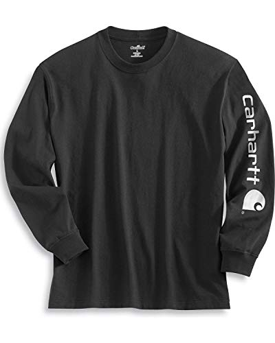 Carhartt Men's Signature Sleeve Logo Long Sleeve T Shirt,Black,Medium