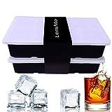 Lessmo xxl cubitera de silicona con tapa i bandeja de hielo i paquete doble i bruto 5x5cm (2 inch) cubos de hielo i -40 – 260°c i bpa – free