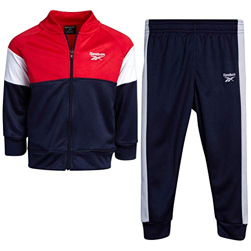 Reebok Baby Boys? Tracksuit Set with Jacket and Joggers (Infant/Toddler), Size 3T, Red-Navy-Panel