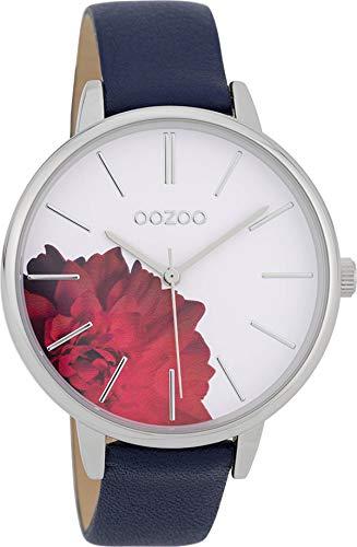 Oozoo Damenuhr mit Lederband 42 MM Blume/Weiss/Dunkelblau C9743