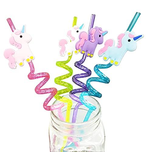 TaoQi 4 cannucce per bambini di compleanno, per feste, cannucce riutilizzabili, con unicorno, personaggio cartone animato, cannucce in plastica, per feste di compleanno