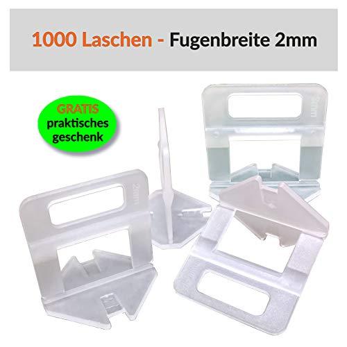 100-5000 Stück Standard Laschen Fugenbreite 1-3mm, Zuglaschen Nivelliersystem Verlegen Fliesen Nivellierhilfe Levello Verlegehilfe für Fliesen Höhe 3-12 mm (1000 Laschen, 2,0mm)