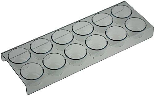Eierhalter 12er für Samsung Kühlschrank, Länge: 28cm, Breite: 10cm, Höhe: 2,5cm, Durchmesser Eierfach: 4cm.