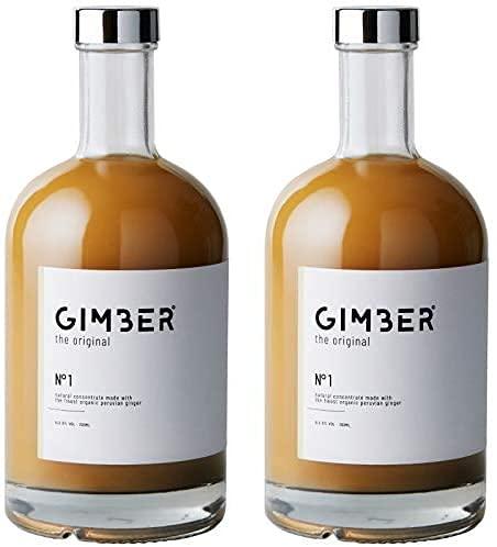 GIMBER Biologisches Ingwerkonzentrat 2×500 ml (1L) | Alkoholfreies Bio-Getränk aus Ingwer, Zitrone und Kräutern…