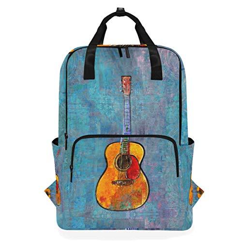 ZOMOY Rucksäcke,Akustische Gitarrenmalerei,Neue lässige Laptop leichte Tagesrucksack Leinwand College School Travel Umhängetasche Camping Klettern Wandern Taschen