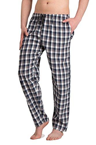 Moonline - Herren Webhose Freizeithose Loungewear aus 100{7159811a0f14c3b88317c86ab634e61d1e47c83482c19b030749e5320e7bb905} Baumwolle, Farbe:anthrazit/blau/weiß, Größe:50/52
