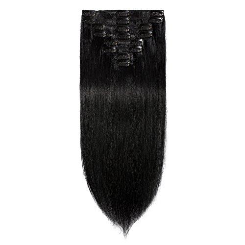 Clip-In-Extensions-Echthaar für komplette 100% Remy Echthaar Haarverlängerung 80g-33cm (#1 Schwarz)