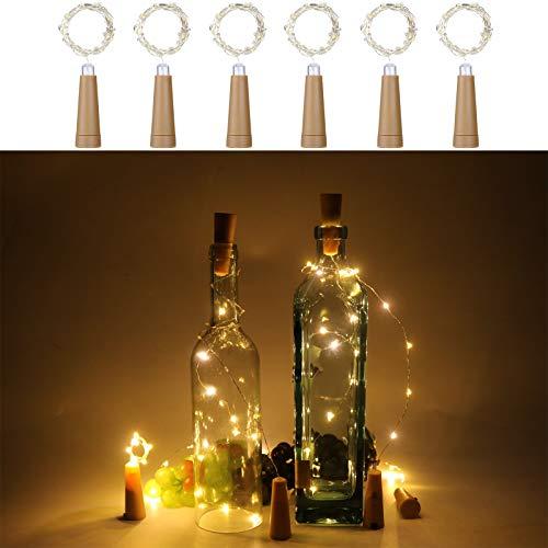 Anpro 20 diod LED do butelek wina, AAA, na baterie, ciepła biel, łańcuch świetlny korkowy na Boże Narodzenie, imprezy i wesela, 6 sztuk