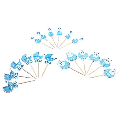 Yosoo 18 f¨¹r Geburtstagstorte Baby Stock f¨¹r Dekoration Kuchen aus Motiv Kinderwagen f¨¹r Baby M?dchen Set 18 (Rosa/Blau) blau