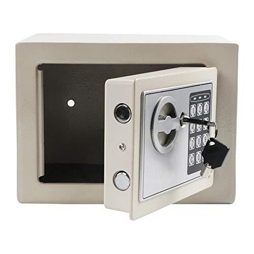 KDOAE Seguro de Acero Gabinete Digital Caja Fuerte Pequeña joyería sólida de Acero Inicio Uso de la Oficina for el Dinero en Efectivo para Casa (Color : White, Size : 23x17x17cm)