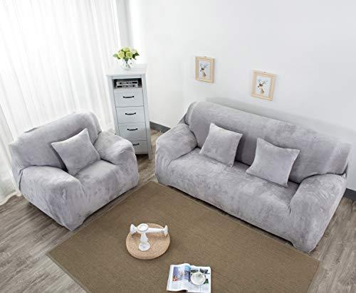 Funda de sofá de 1, 2, 3, 4 plazas, para sala de estar, perros, gatos, mascotas, funda elástica para muebles (funda de almohada incluida) (gris, 4 plazas)
