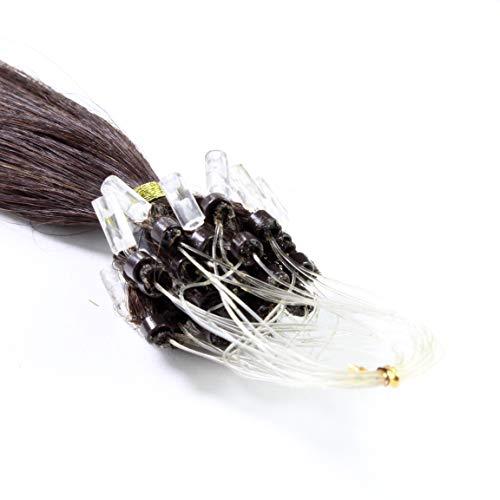 hair2heart 150 x 0.5g Echthaar Microring Loop Extensions, 50cm - glatt - #2 dunkelbraun