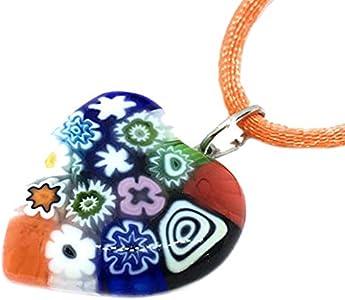 Joyería de cristal de Murano, colgante de corazón de cristal de Murano, colgante de corazón de Millefiori, incluye caja de regalo y certificado de autenticidad
