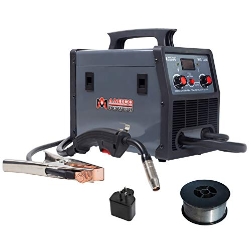 Amico MIG-130A, 130 Amp MIG/Flux Cored Wire Gasless Welder, 110/230V Dual Voltage Welding Soldering Machine