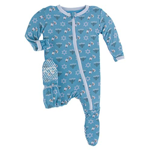 KicKee Pants Print Footie with Zipper, Fitting Long Sleeve Pajama Baby Bodysuit, Ultra Soft Everyday Onesie Loungewear, Baby Clothes for Boys and Girls (Blue Moon Hanukkah - 0-3 Months)