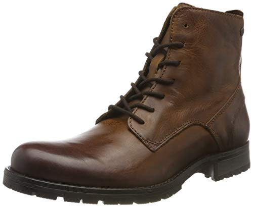 JACK & JONES Herren JFWORCA Leather Boot NOOS Klassische Stiefel, Braun (Cognac Cognac), 44 EU