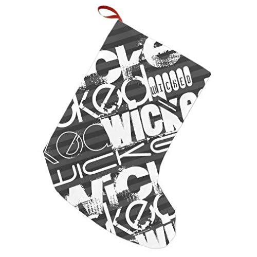 onepicebest Christmas Stocking Wicked; Black & Dark Gray Stripes Christmas Stocking Ornaments for Family Holiday Xmas Party Decorations