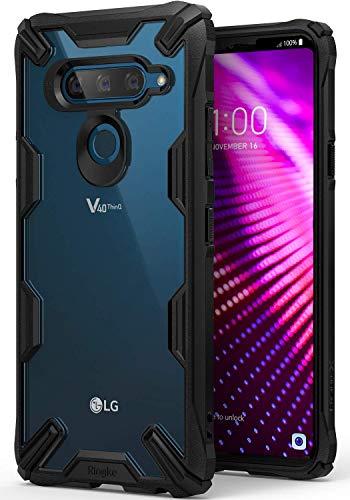 Ringke Fusion-X Kompatibel mit LG V40 ThinQ Hülle, Ergonomische Anti Cling Dot Matrix Transparent Schutzhülle Hart PC Rückseite Hülle TPU Bumper Cover Kratzfest Handyhülle für LG V 40 - Black Schwarz