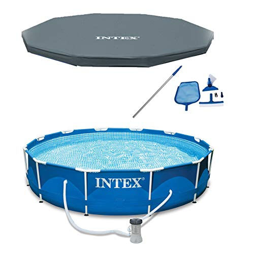 Intex 12 x 2.5 Foot Metal Frame Above Ground Swimming Pool, Type A Filter, Protective Cover, and Complete Maintenance Kit with Vacuum Skimmer and Pole