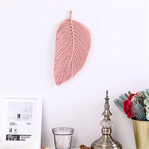 SEN-qiaolu Feather Wall Hanging Macrame Wall Hanging Leaf Tapestry Cotton Feather Boho C-ord Nordic Style Tassels Decor Living Room Bedroom Decor (Color : Pink)