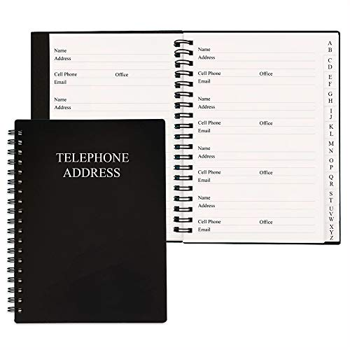Telephone Address & Birthday Book with Tabs, Address Log Book for Contacts, with Phone Numbers, Addresses, Birthday & Password. Alphabetical A-Z Organizer, Black, 5x7 inch