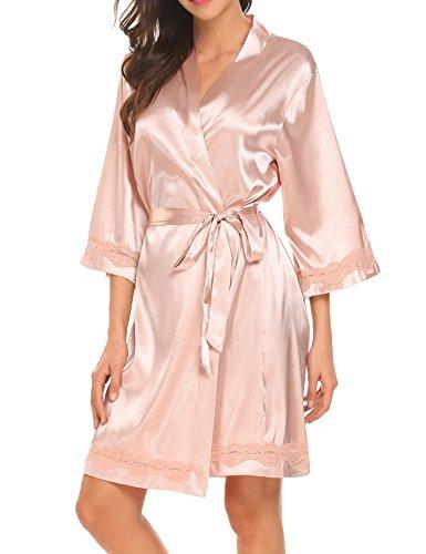 Unibelle Morgenmantel Damen Kimono Satin Bademantel Kurz Seide Roben Nachtwäsche V Ausschnitt Mit Blumenspitze Champagner-M
