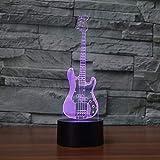 7 Colores Luz De Noche 3D Decoración De Iluminación 3D Bajo Guitarra Mesa Lámpara De Escritorio 7 Colores Luz Nocturna Led Instrumentos Musicales Modelado Dormitorio Dormir