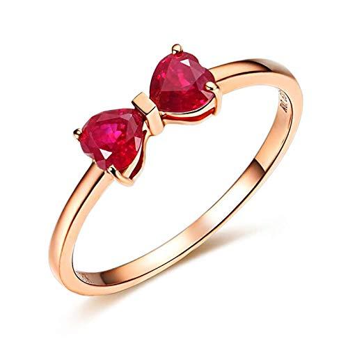 KnSam 18K Oro Rosa Anillo, Anillo Solitario Bow, Rubí Rojo, Color Oro Rosa - Talla 22