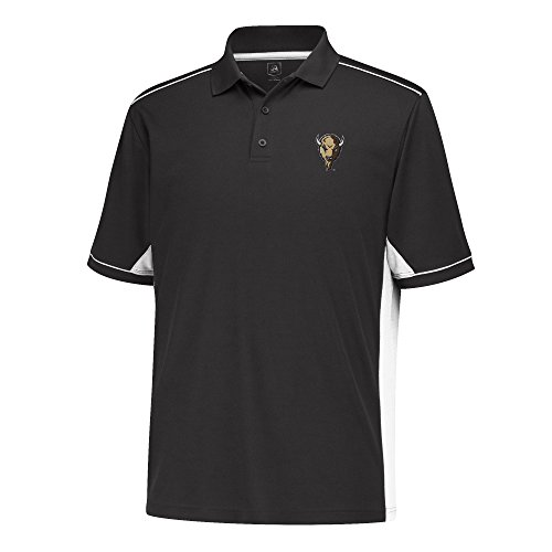 J America Men's Every Day Polo Shirt, Black/White, Medium, Marshall Thundering Herd