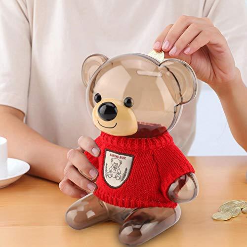 Emoshayoga Caja De Ahorro De Plástico Transparente Regalo Infantil(Transparent Bear in Red)