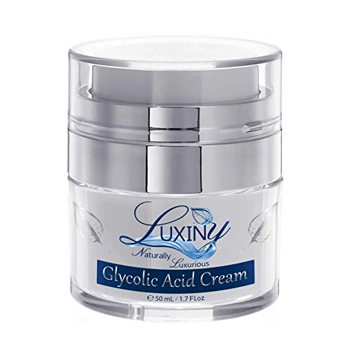 Luxiny Glycolic Acid Face Cream Hydrating Face Moisturizer with Alpha Hydroxy Acid, a Natural Chemical Exfoliant for Face, Anti-Aging & Cystic Acne Treatment with Soothing Aloe & Green Tea, 1.7 oz