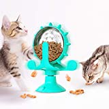 JR. Meet Giochi per Gatti, Gatti Accessori per Interattivi Giradischi per Mulino a Vento Giocattoli per Gatti Gioco Gatto Giochi Interattivi Dispenser Cibo Gatti (Blu)
