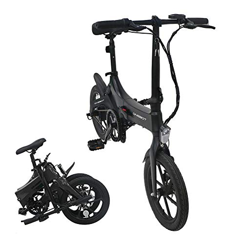 "perfecti Elektrofahrrad 16"" Klapprad E-Bike Mit Schloss, 3-Gang Schaltung Faltrad E-Bike, 250W Motor, 36 V / 6.4 Ah Lithium-Akku Im Rahmen, 25 Km/h(Mattschwarz)"