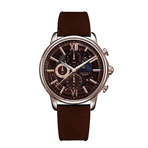 Aries Gold Reloj Analógico para Hombre de Cuarzo con Correa en Cuero G 7013 RG-CF