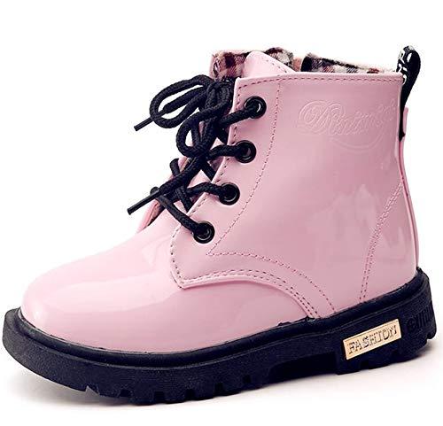 DADAWEN Boy's Girl's Waterproof Side Zipper Lace-Up Ankle Boots (Toddler/Little Kid/Big Kid) Pink US Size 3 M Little Kid