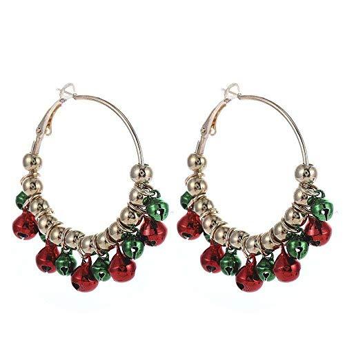 ZJMIQT Weihnachtsserie Schmuck Bunte Mädchen Ohrringe Weihnachtsbaum Jingle Bell Ohrringe Set, Elegante Ornamente Kostüm Weihnachten Drop Dangle für Frauen Mädchen,Pomegranate