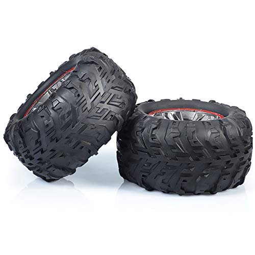 INGQU 2-Pack Off-Road RC Car Buggy TPE Diameter 4.41 inch Tires ABS Rim Wheel with Sponge Inside Fit for 1:10 Scale Off Road Truck
