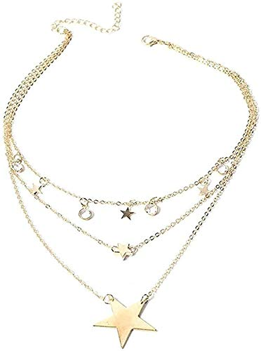 BEISUOSIBYW Co.,Ltd Necklace Fashion Vintage Multilayer Crystal Pendant Necklace Women Necklace Gold Color Pearl Moon Star Horn Choker Necklaces Jewelry New