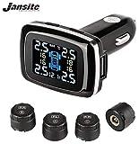 Jansite - Sistema di monitoraggio della pressione degli pneumatici TPMS con presa accendisigari con porta di ricarica USB per smartphone, 4 sensori esterni