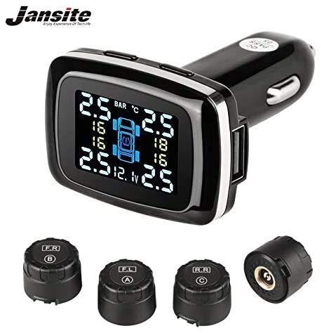 Jansite Sistema de control de presión de los neumáticos TPMS, potencia del encendedor del coche con puerto de carga USB para smartphone y 4 sensores externos.
