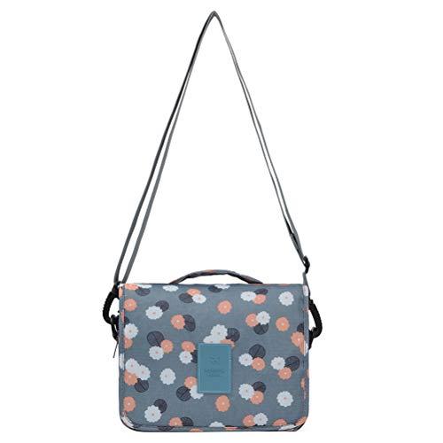 HaloVa Diaper Bag, Small Milk Bottle Tote, Hanging Baby Nappy Shoulder Bag Crossbody Bag, Blue Flowers