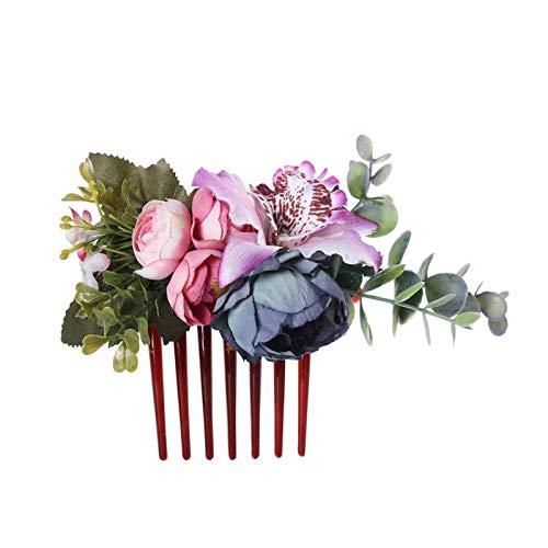 Tocados de novia Muelles Purple Cornflower Rose Pein Pein Pein Hermosa Elegante...