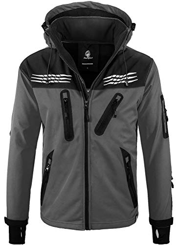 Rock Creek Herren Softshell Jacke Outdoor Regenjacke Windbreaker Softshelljacken Wanderjacke Skijacke Laufjacke Thermojacke Kapuze H-159 Anthrazit L
